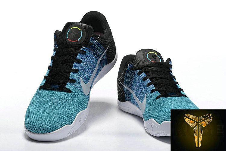 save off 72541 2a4d0 Cheap 2016 NBA Playoffs Kobe 11 XI Flyknit Elite BHM Aqua Blue Multicolor  Basketball Shoes For Men