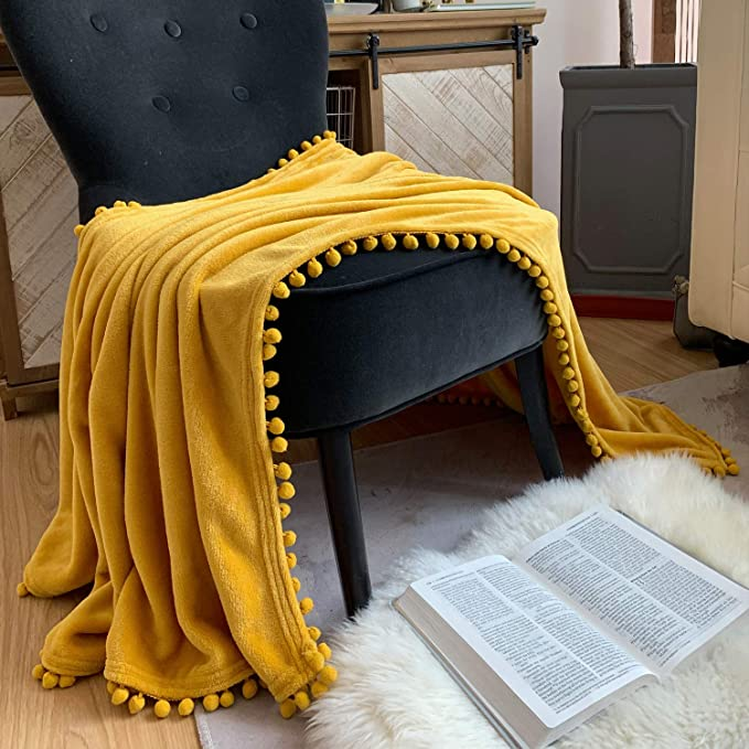 LOMAO Flannel Blanket with Pompom Fringe Lightweight Cozy Bed Blanket Soft Throw Blanket fit Couch Sofa Suitable for All Season 51x63 Mustard Yellow