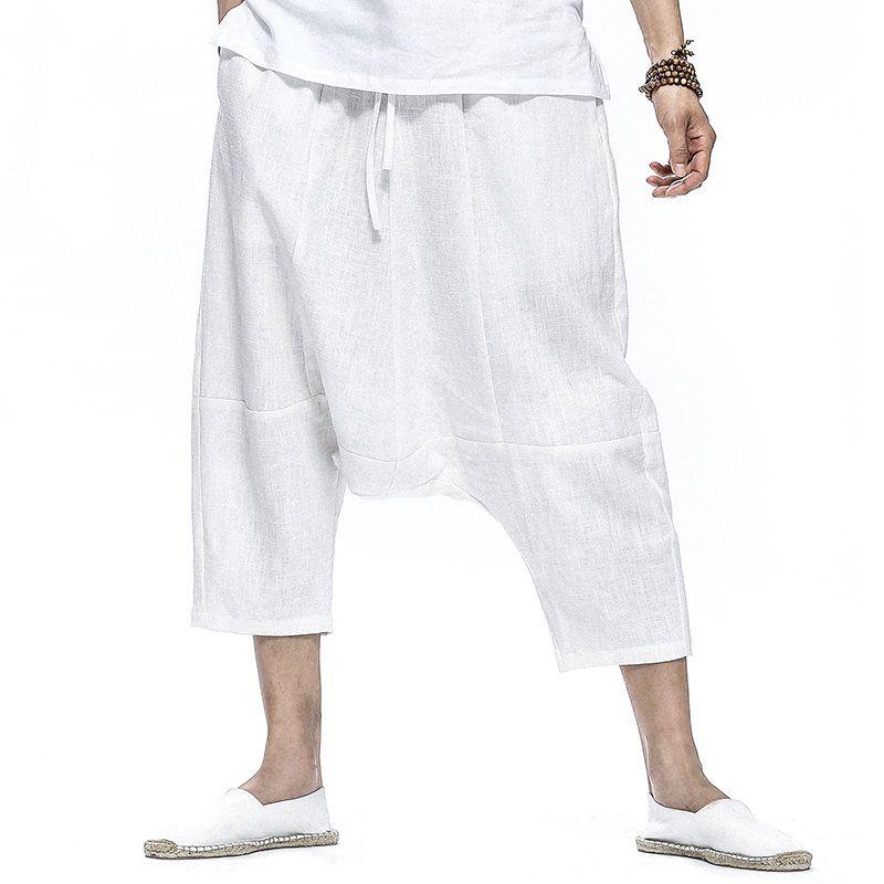 a17eb72477 90b9c216-3511-4a52-9ebb-12ab22dfd56e Mens Casual 100% Cotton Calf Length Harem  Pants Solid Color Baggy Loose Fit Wide Legs Pants