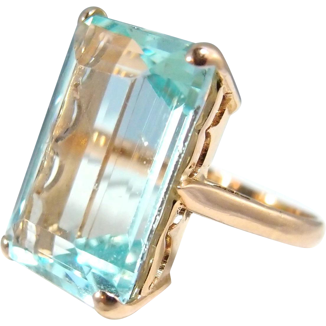 7f046b42a Estate extra large aquamarine ring set on a heavy 18K solid gold band  Stamped fine jewelry