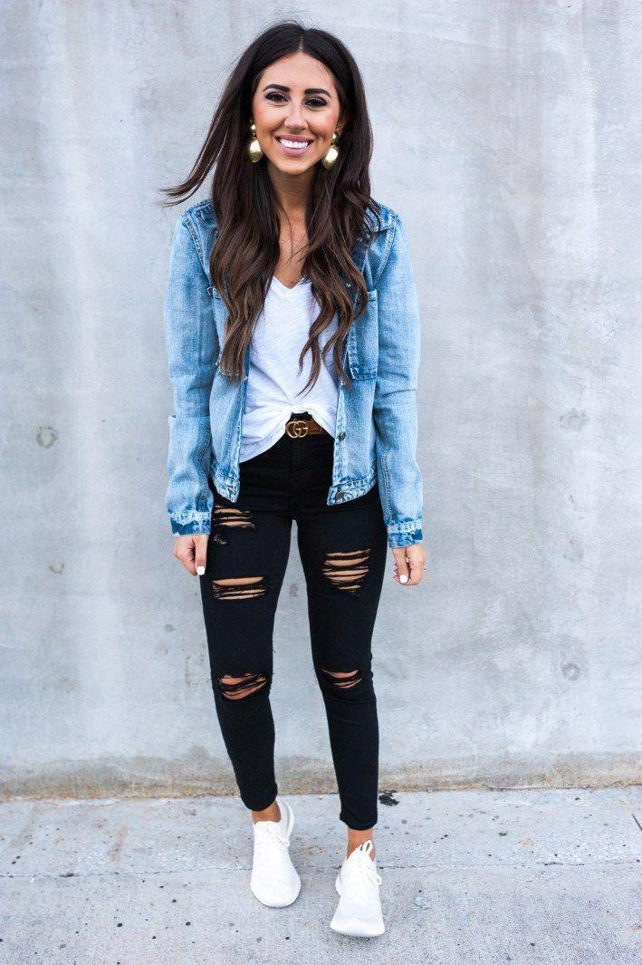 How to Wear a Jean Jacket Outfit #JeanJacketoutfitsbaddie #varsityjacketoutfit