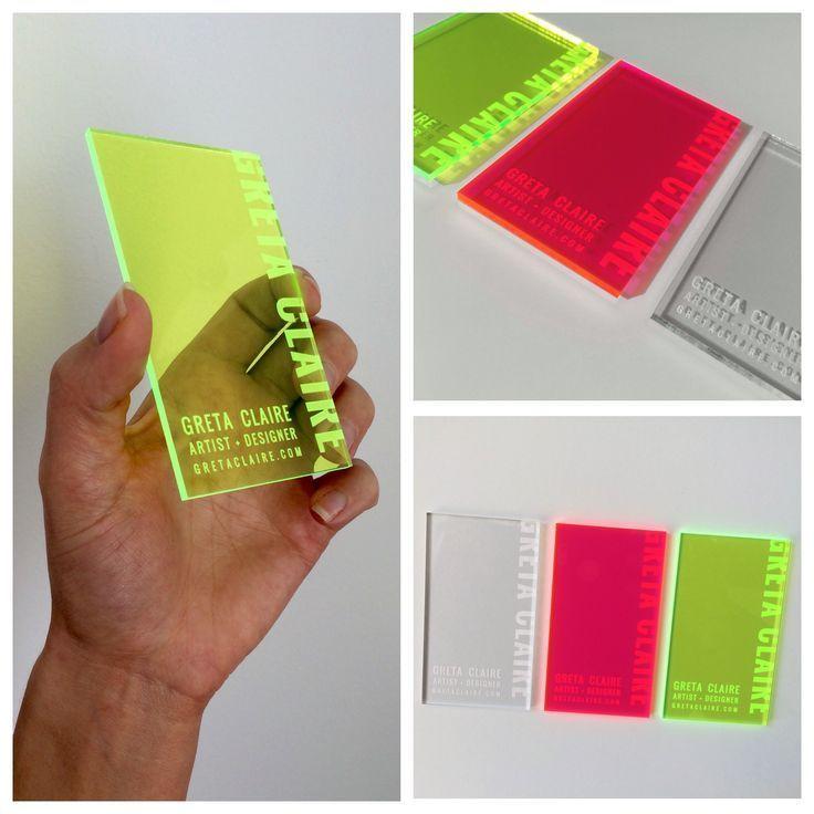 Artist + Designer : Greta Claire   Acrylic Business Cards  #acrylic #artist #bus...