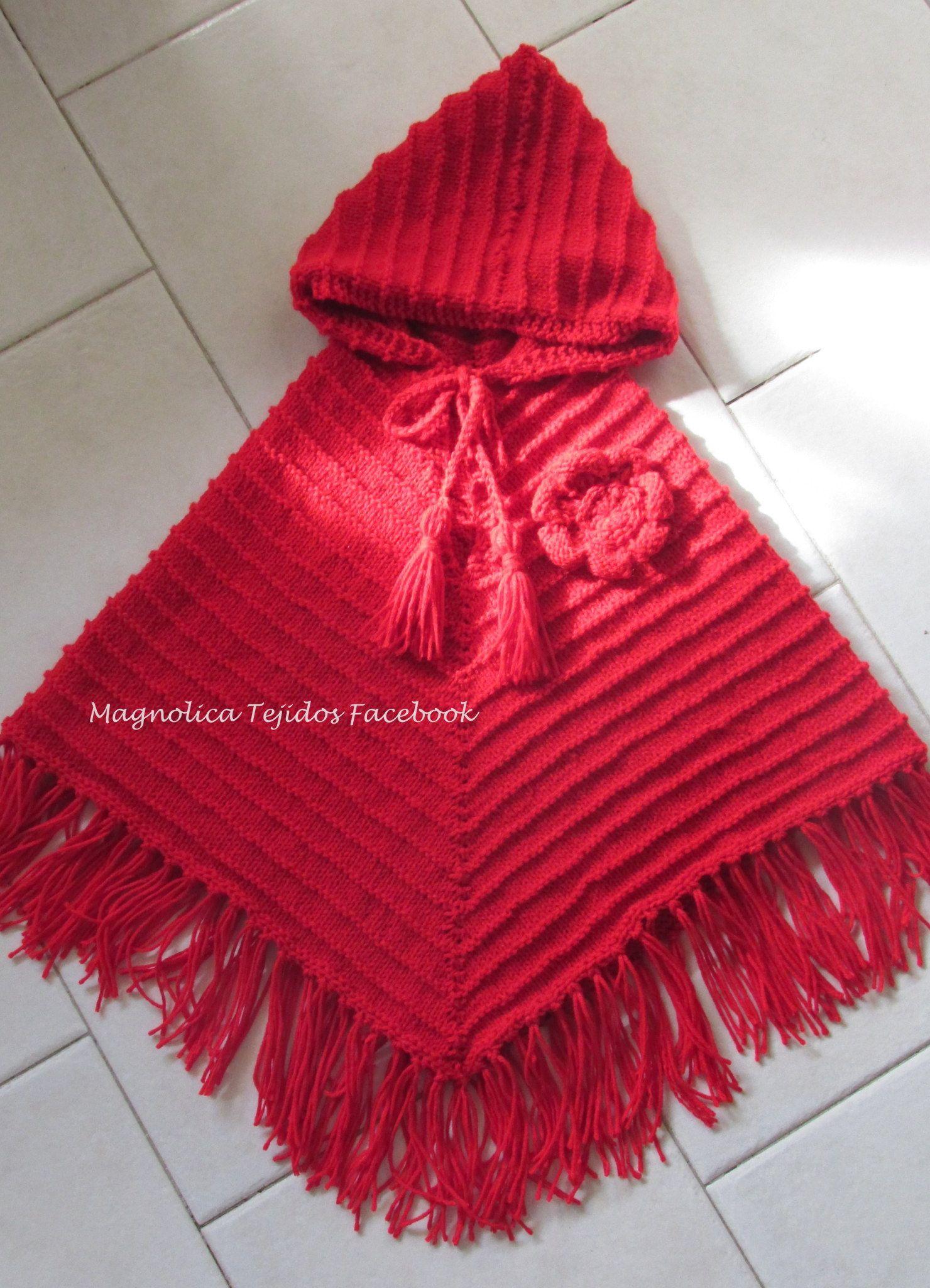 Poncho rojo niña | manualidades | Pinterest | Ponchos, Regalitos y ...