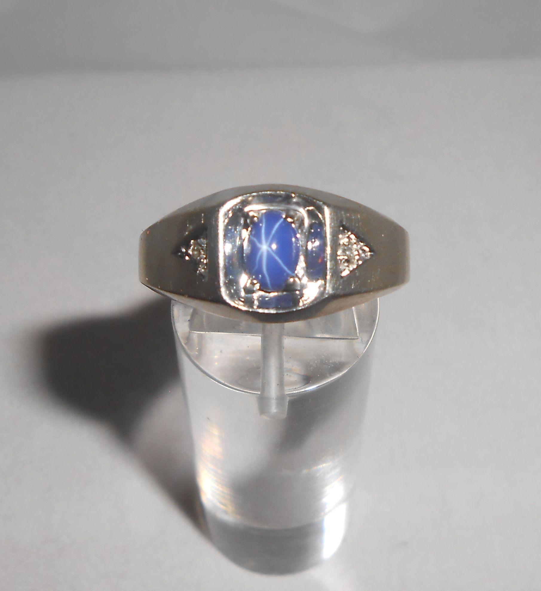Star Sapphire Ring Gents Ring 10k Gold Ring Men White Gold Ring Diamond Accent Mens Ring Mens Gift Blue Sapphire Ring In 2020 Star Sapphire Ring Mens Gold Rings Blue Sapphire Rings