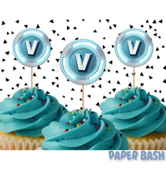 photograph regarding V Bucks Printable called Fortnite V Pounds Cupcake Toppers Template Birthdays Cupcake