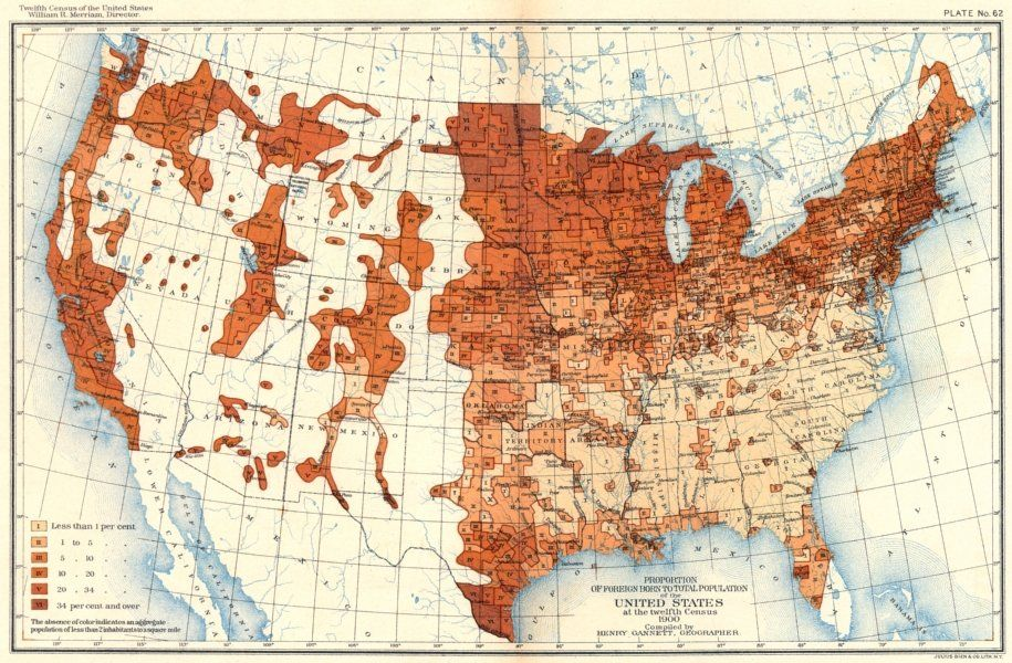 Usa Foreign Born Total Population Us Census 1900 Map