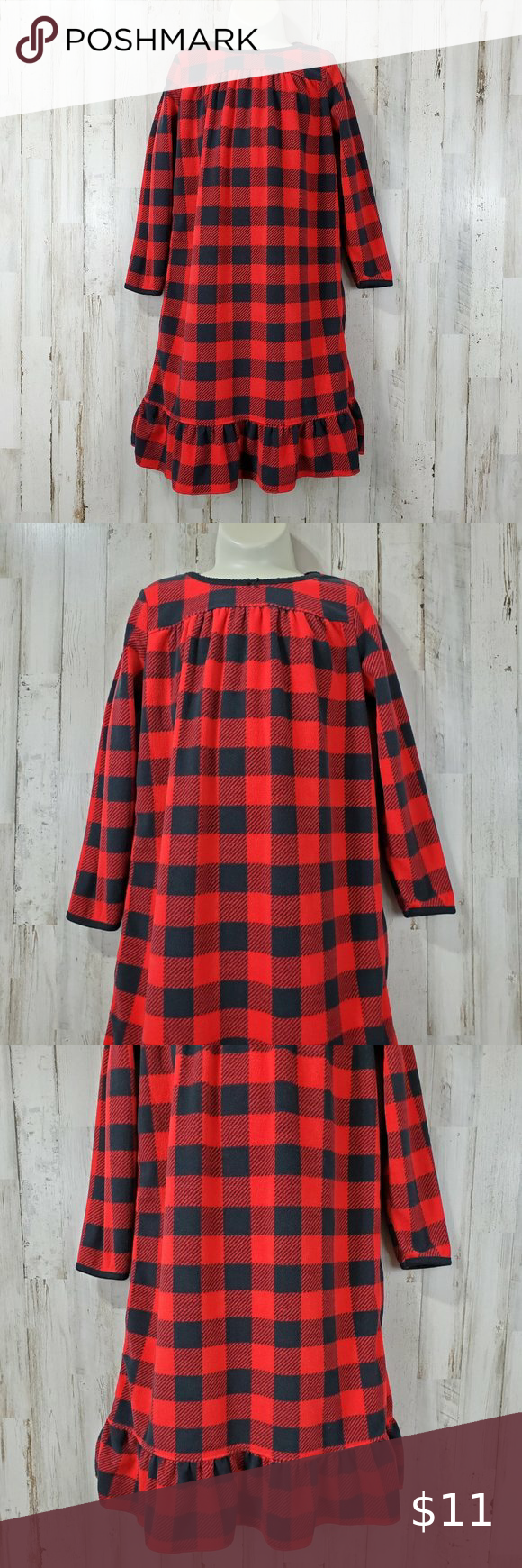 Carter's Girls Nightgown 45 Red Black Plaid in 2020