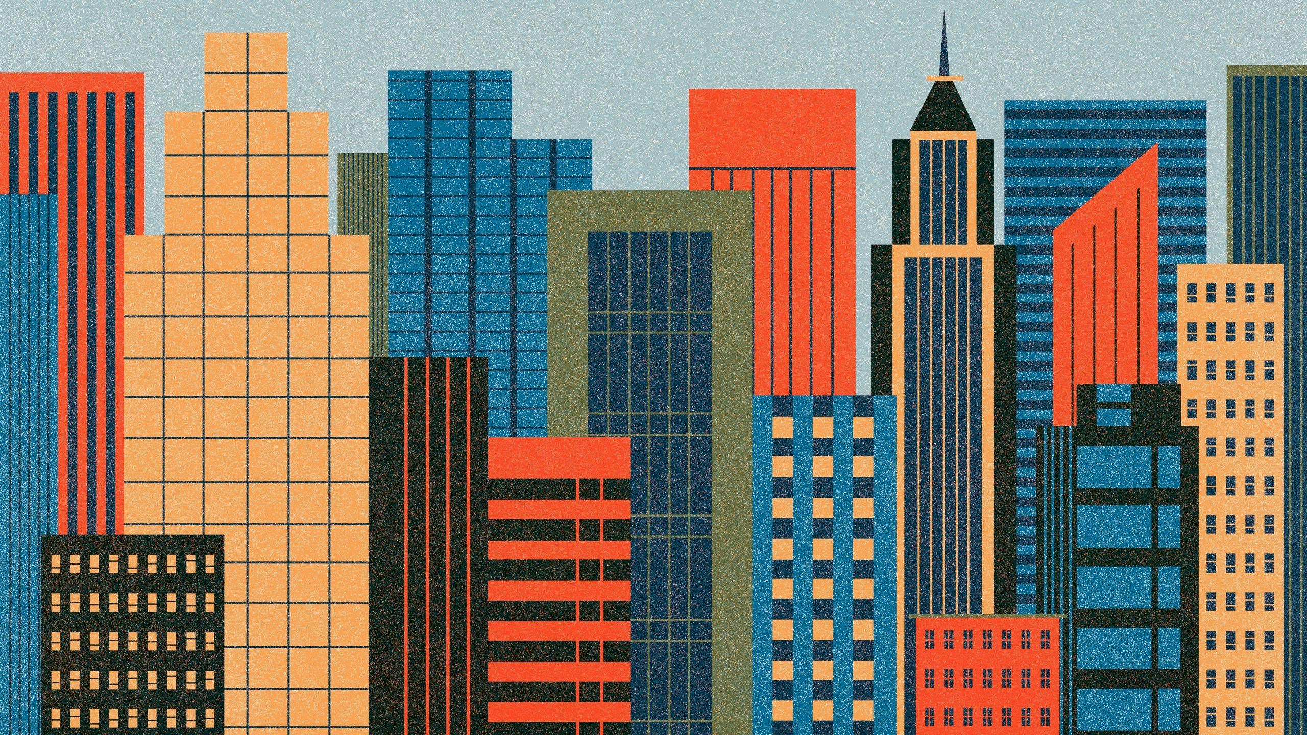 The Desktop Wallpaper Project Featuring Ben Newman 2560x1440 Jpg 2 560 1 440 Pixels Building Illustration City Art Wallpaper Project
