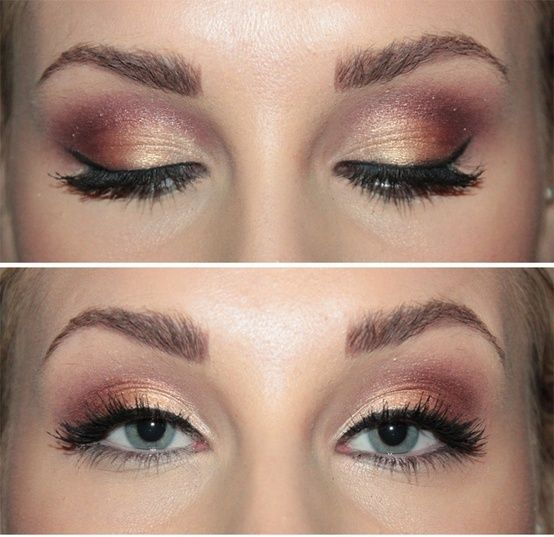 Gold And Dusty Rose Smokey Eye