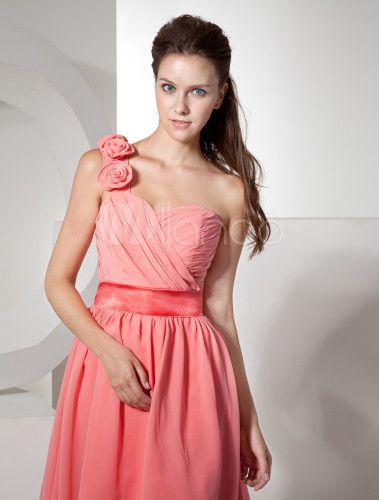 Chiffon A-Linie Kleid für Hochzeit mit Einschulter und ...