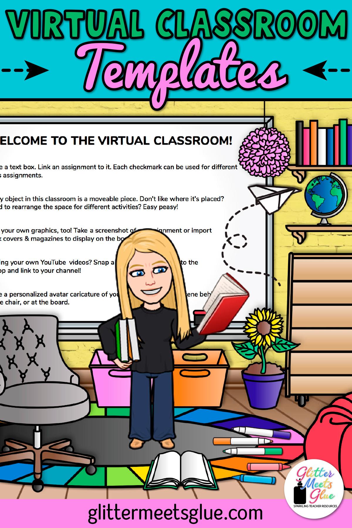 Virtual Classroom Templates For Elementary Teachers Virtual Classrooms Google Classroom Elementary Digital Learning Classroom