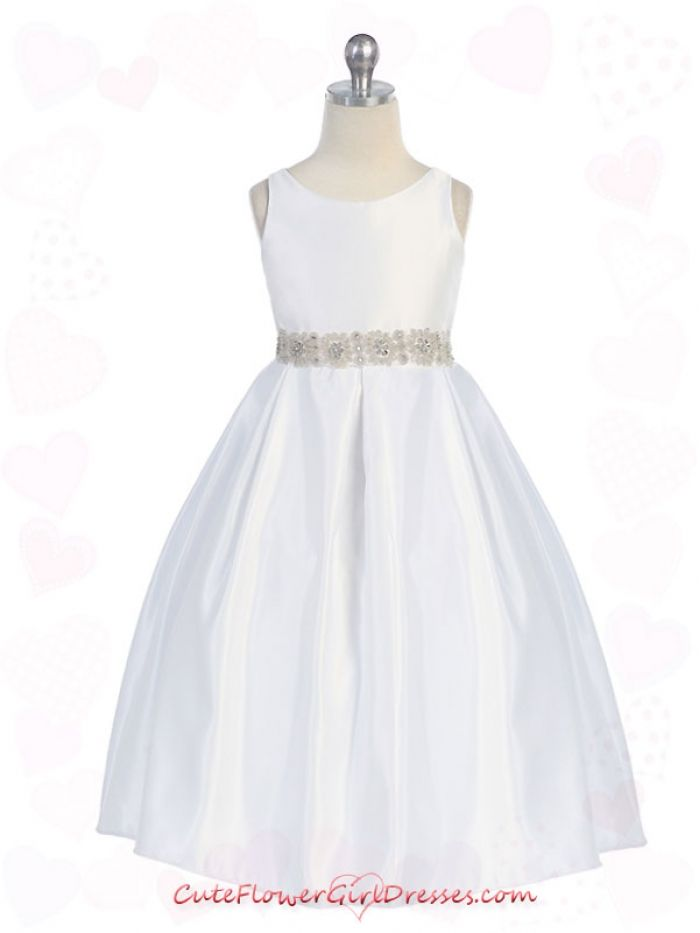 communion dresses  White Simple Satin cuteflowergirldresses.com ...