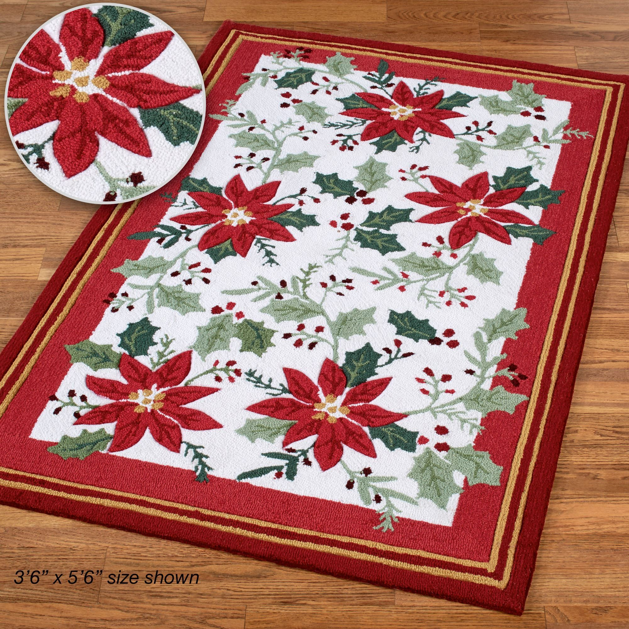 Poinsettia and Holly Holiday Area Rugs | PLACEMAT | Pinterest ...