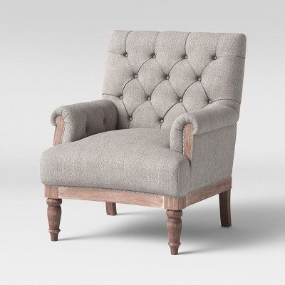 Fabulous Alford Rolled Arm Tufted Chair With Turned Legs Gray Pabps2019 Chair Design Images Pabps2019Com