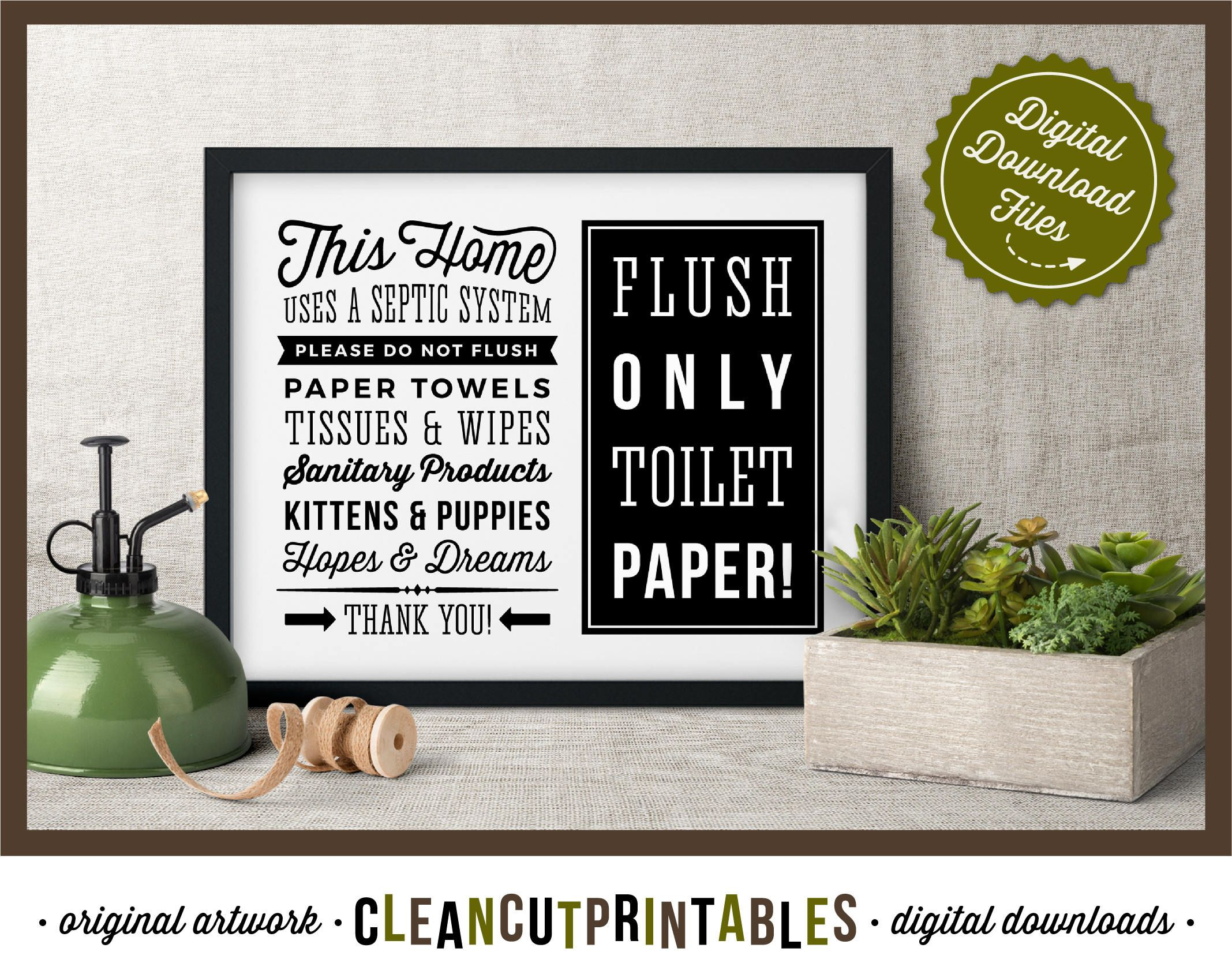 Septic System Sign Flush Only Toilet