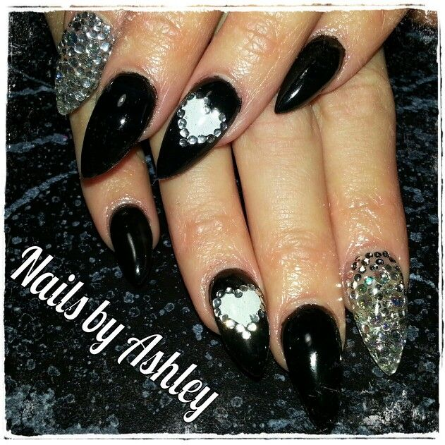 Black white heart rhinestones stiletto long gel nails