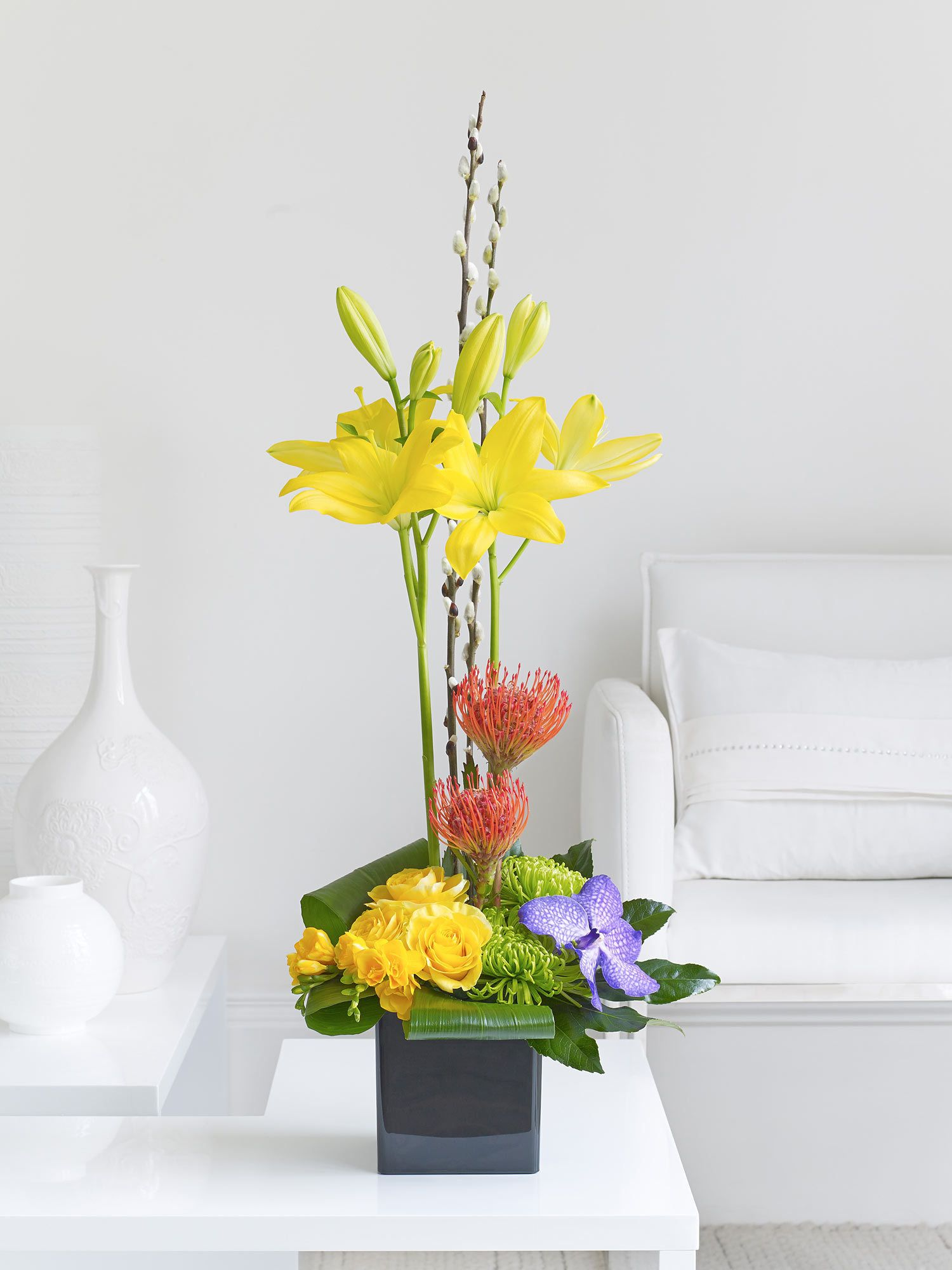 Spring Lily, Rose and Orchid Arrangement Interflora