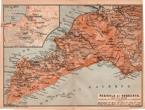 1903 Sorrento Peninsula Antique Map Castellammare Positano Gulf