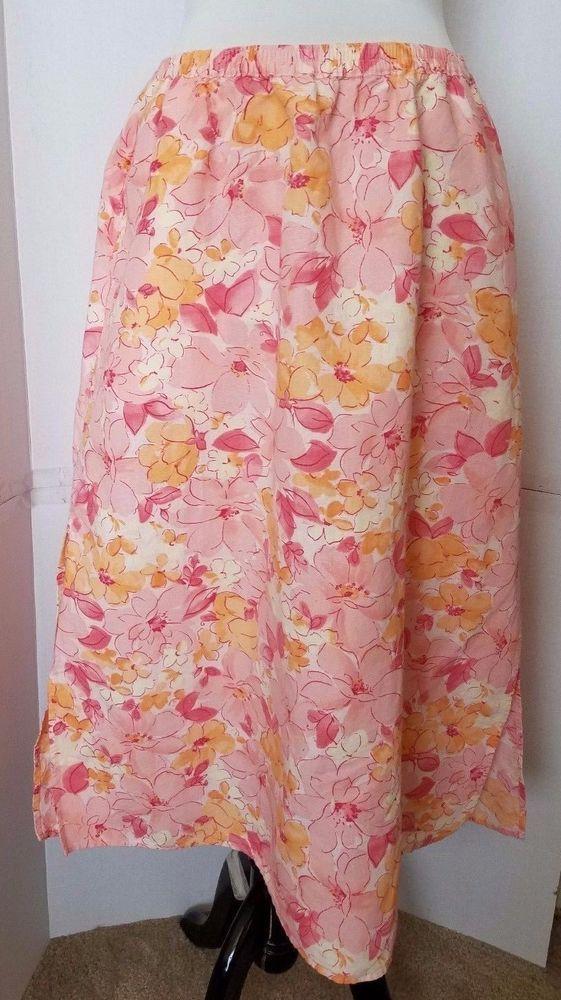 01830b33938 Elisabeth by Liz Claiborne Floral Pull on Linen Skirt Womens Petite 14 P  Pink  LizClaiborne  FullSkirt