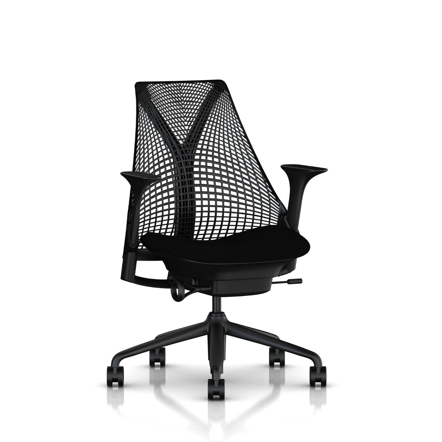 Herman Miller Sayl Task Chair: Tilt Limiter - Stationary Seat Depth - Height Adj Arms - Standard Carpet Casters - Black Base & Frame