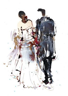 Fashion Wedding Illustration Watercolor Paint Art Modern Painting