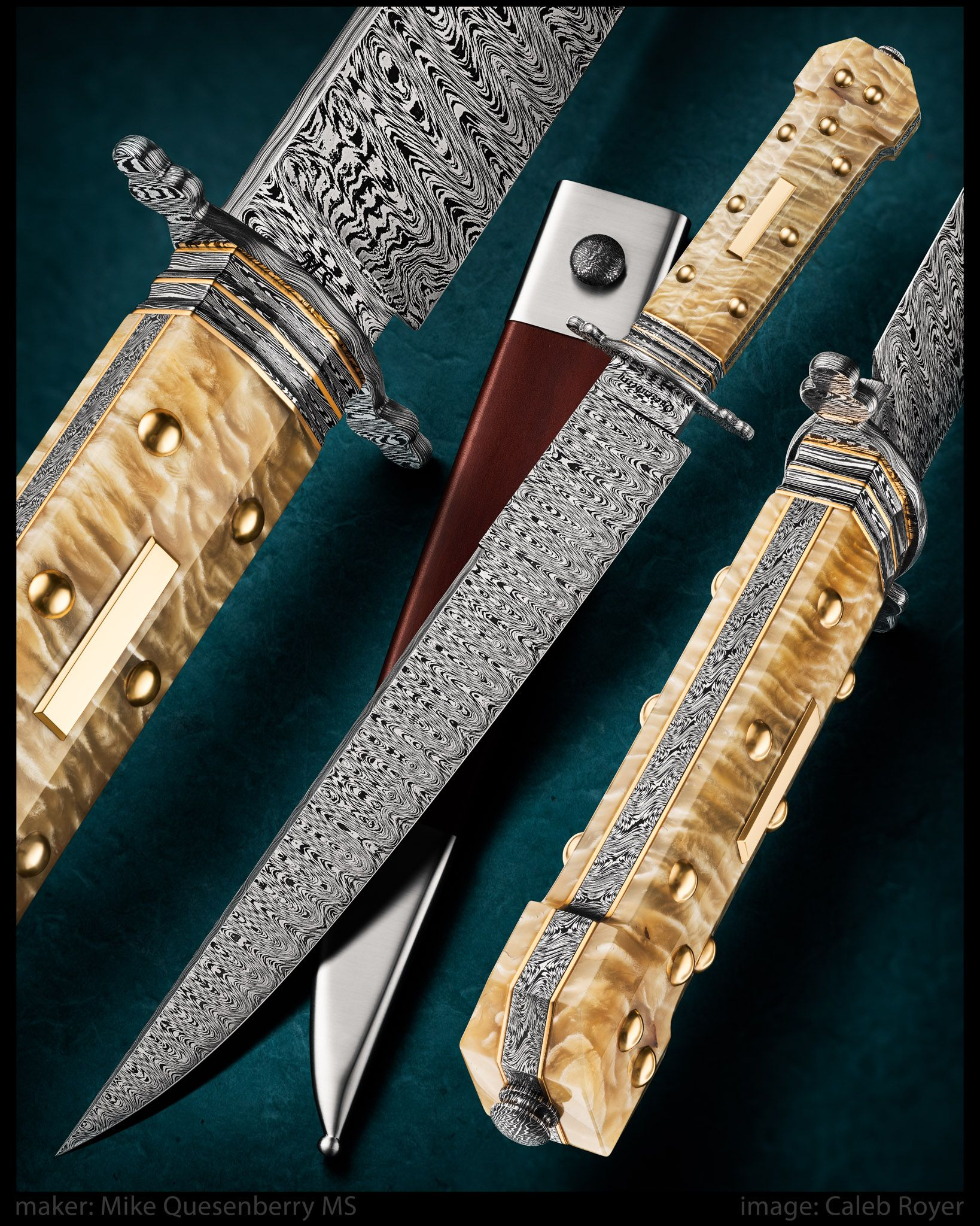 Dogbone Bowie By Mike Quesenberry Ms Website Quesenberryknives Com Ladder Patterned W S Of 1080 And 15n20 5 Piece Spacer From Gold Bowie Knife Knife Bowie