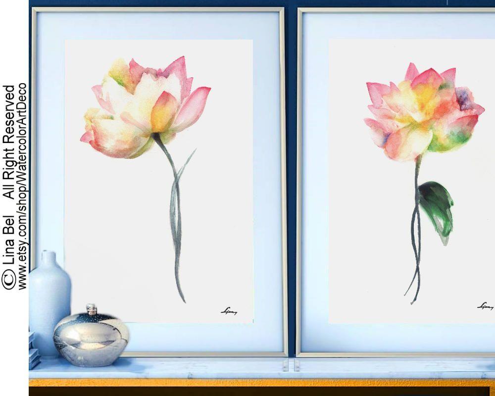 Wedding decorations clipart  Lotus Wall Decor Painting Flower Art Printlotussetflowerart
