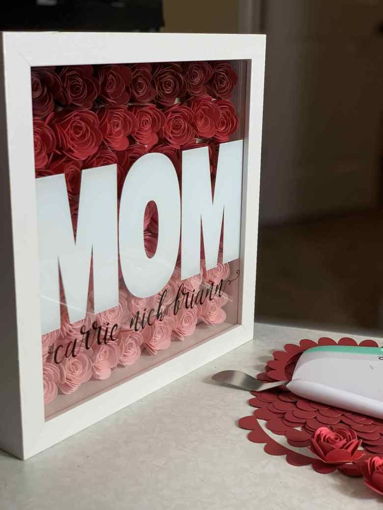 How to make a shadow box with cricut paper flowers