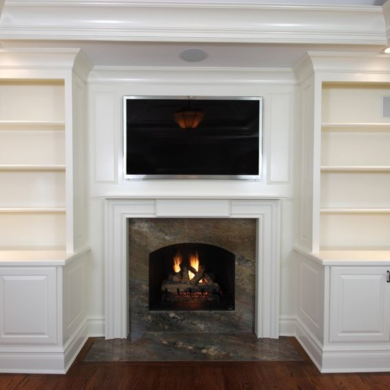 Cabinets And Fireplace Surrounds: Custom Made Built-In Cabinets With Mantel 1