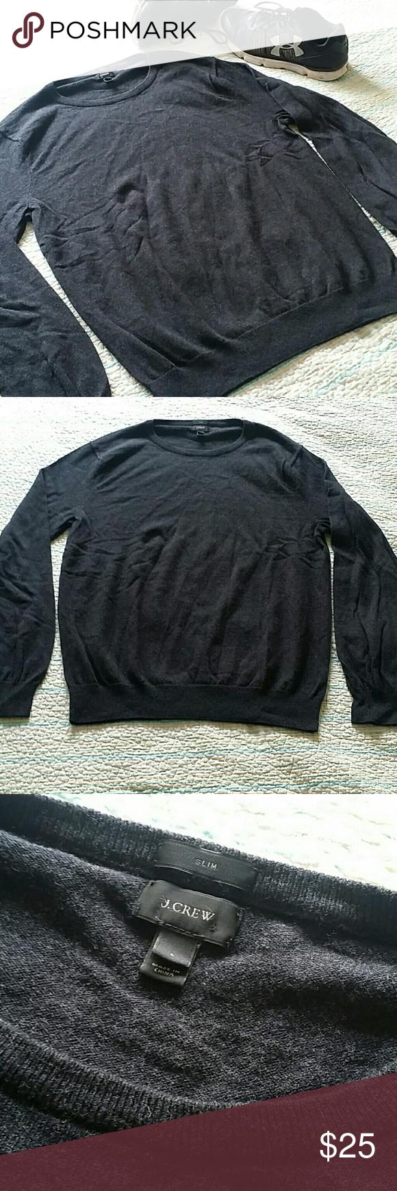 J.CREW Slim Fit Gray Cotton Cashmere Sweater Large | Crewneck ...