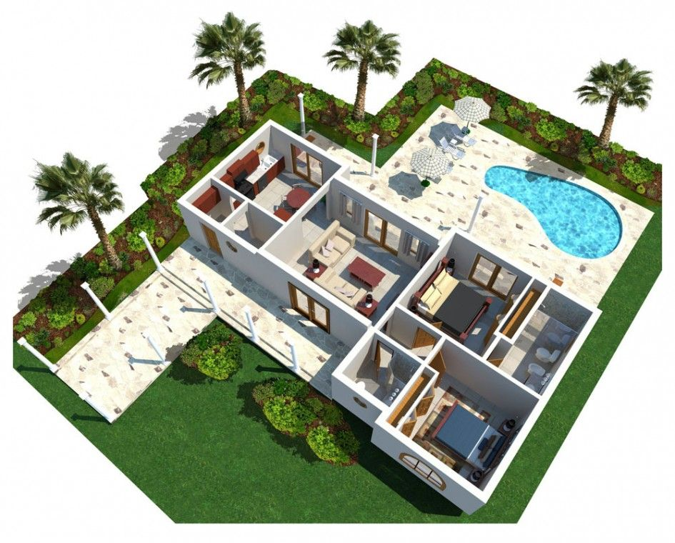 architecture 3d modern luxury home plan with curve swimming pool and backyard garden with palm. Black Bedroom Furniture Sets. Home Design Ideas