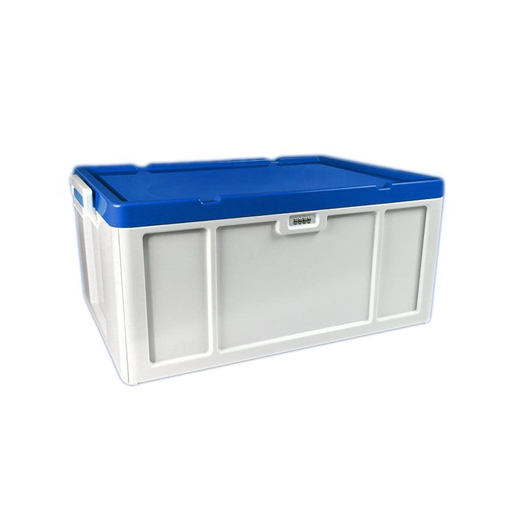 storage box evertop 52 liter lockable household storage container stackable abs plastic storage bins