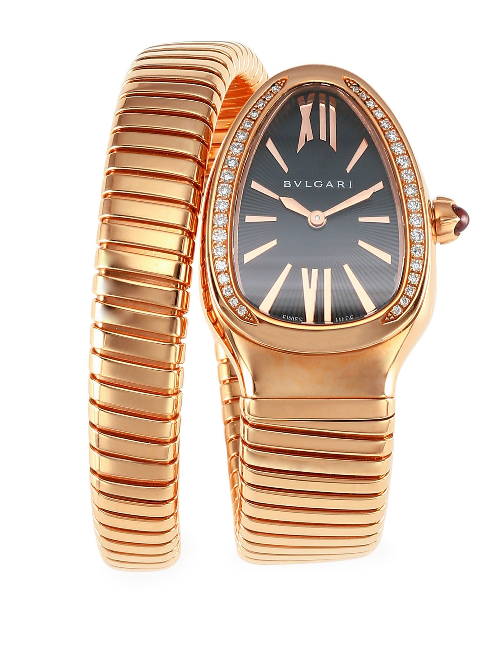 Bvlgari serpenti diamond rose gold single twist bracelet watch
