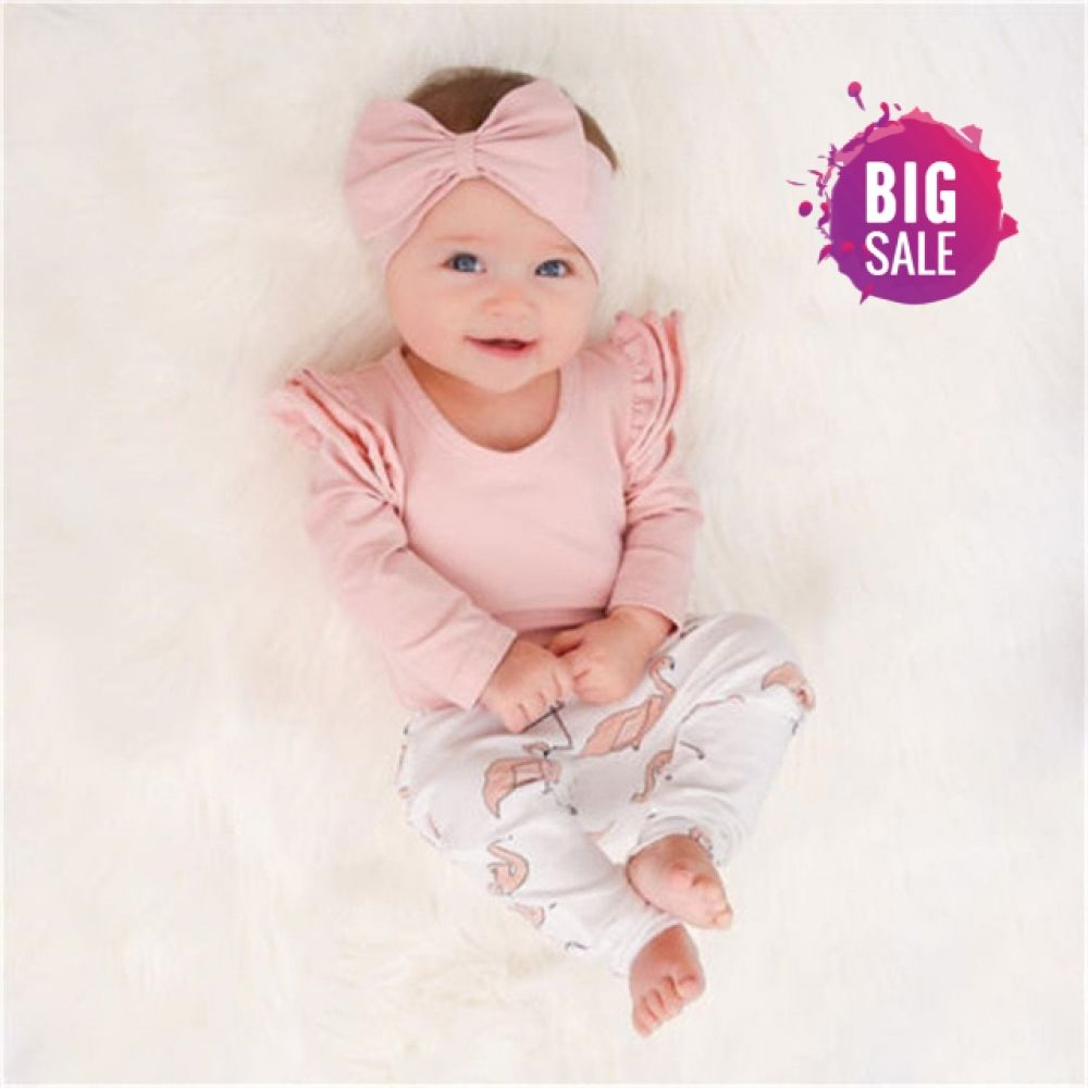 bb7e2e59 Cute Infant Children Girls Clothing Set Baby Girl Clothes Flamingo Print Pants  Leggings Toddler Kids Tops Headband 3 Pieces Price: 12.03 & FREE Shipping #  ...