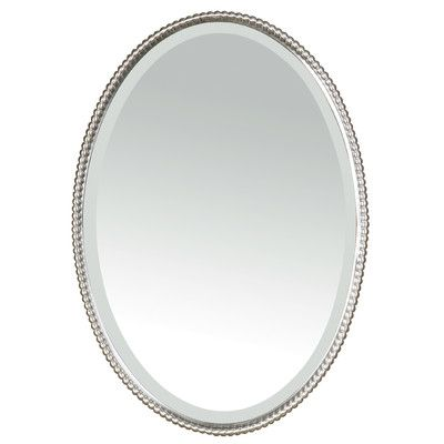 bathroom: brushed nickel oval bathroom mirror with flowers decor