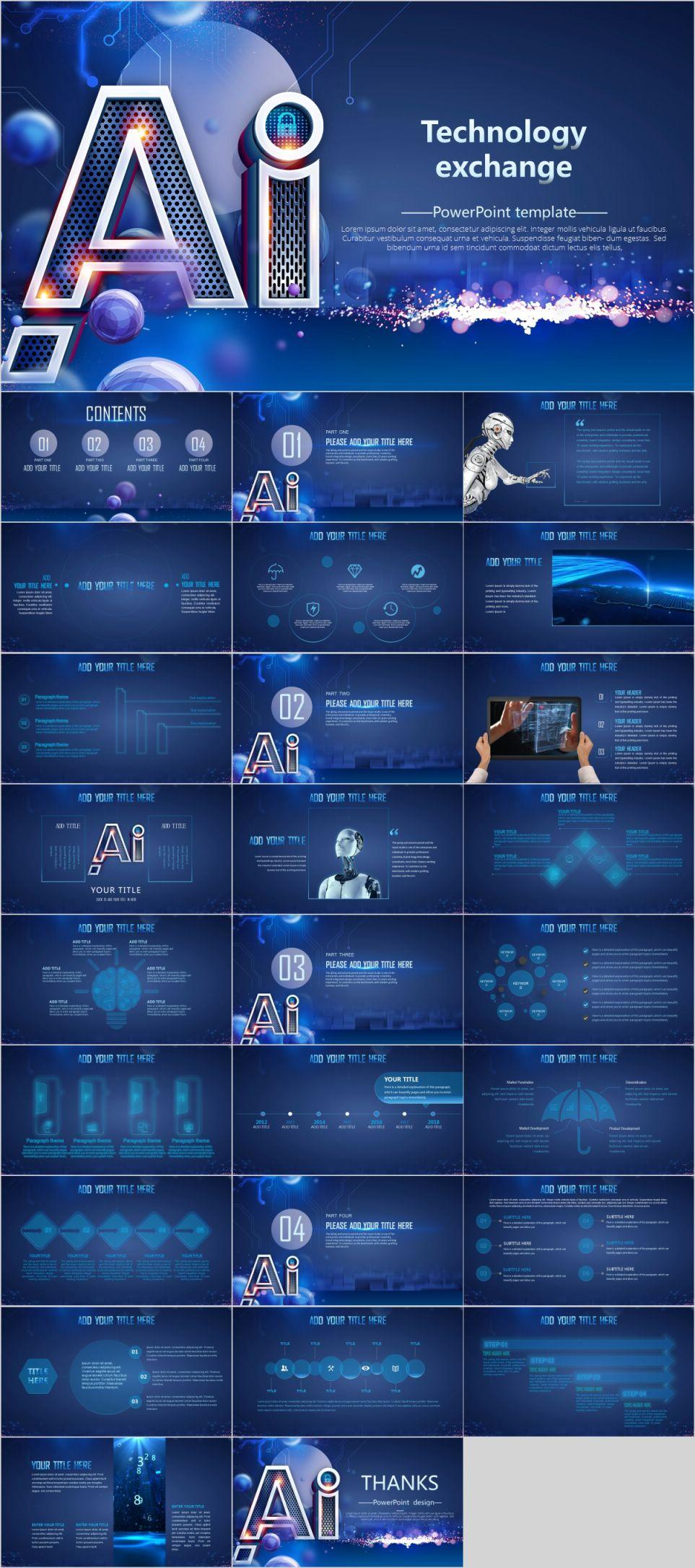 AI technology design presentation 배경 템플릿, 템플릿 및 아이디어