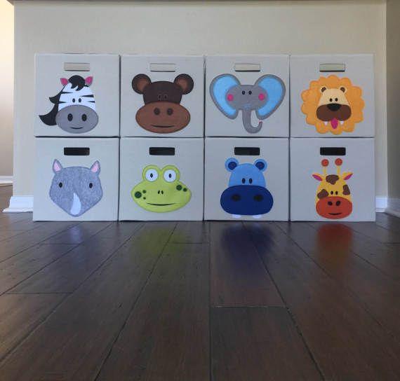 Jungle Nursery Storage Bin Set Kids Jungle Animals Fabric Zoo Nursery Decor Nursery Storage Bin Boy Decor