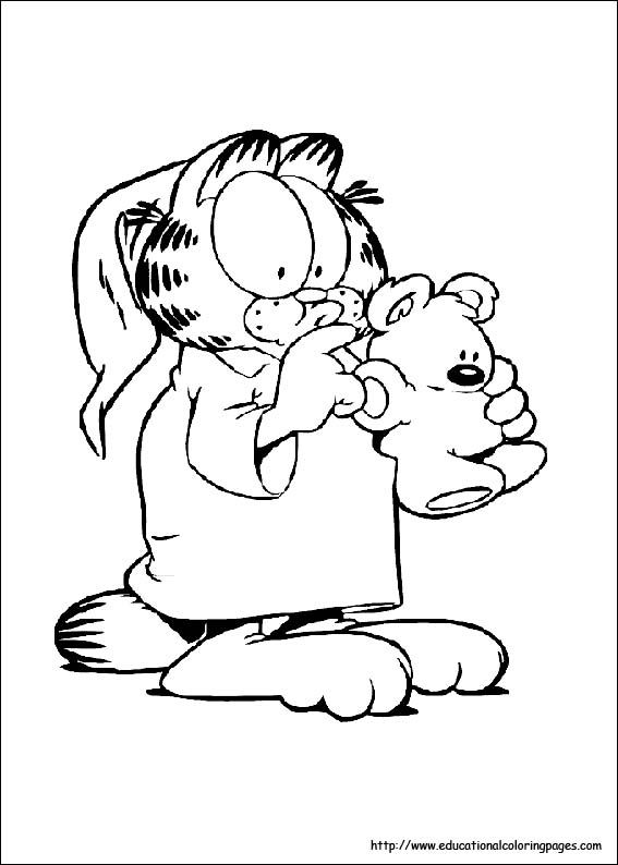 Garfield Color Page Cartoon Characters Coloring Pages Plate Sheetprintable Picture