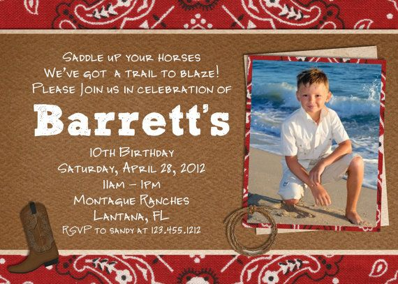 Vintage Western Cowboy Birthday Invitation Photo Card Custom - Cowboy birthday invitation template