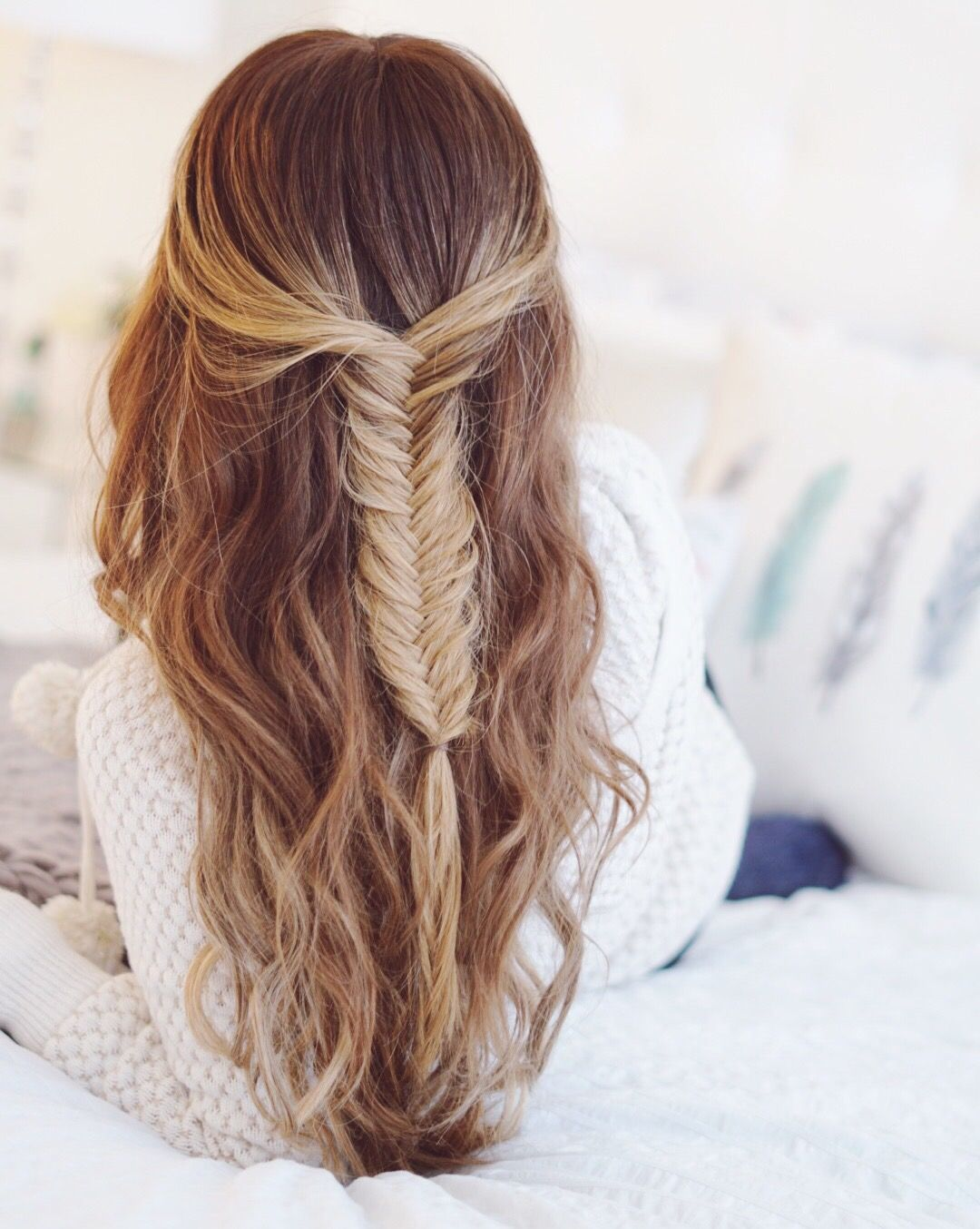 Half Up Half Down Fishtail Braid With Tressmerize Hair Topper And Hair Extensions Fish Tail Braid Half Up Hair Hair Styles