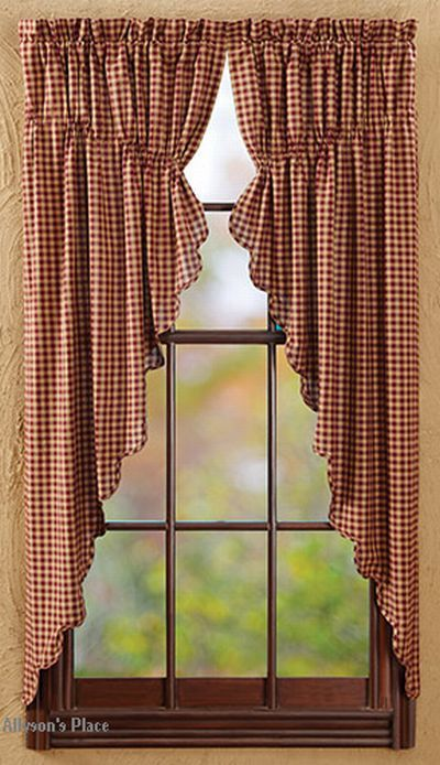 burgundy check curtain panels