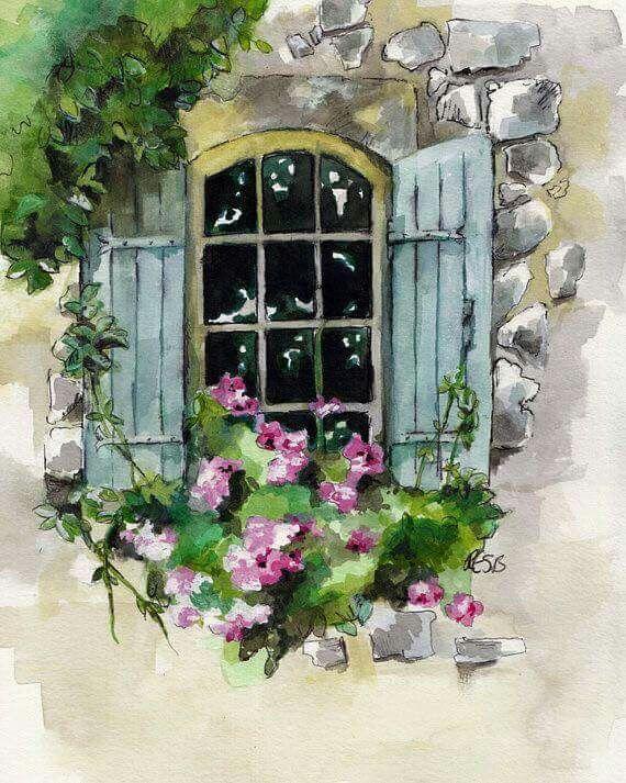 Window And Flowers Window Painting Original Watercolor Painting