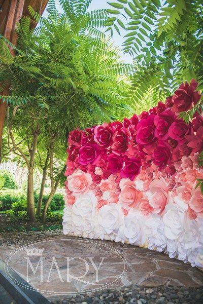 Ombre de flor de papel de Novia de telón de fondo – fondo – telón de fondo de flores de papel – papel flores de la boda