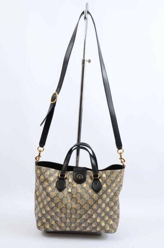 7e3d706aef8 Gucci GG Supreme Bees beige multi canvas leather print tote handbag purse   1100