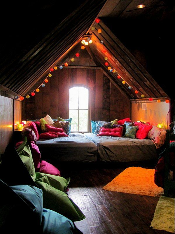 convert the creepy attic space in an old house to a cute loft/movie room  for guests. Also not a room but amazing idea! Love it!