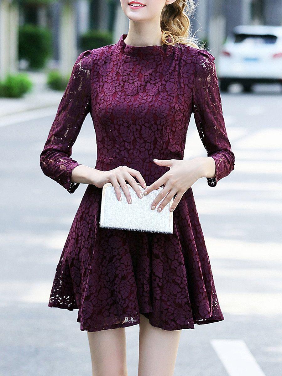 #AdoreWe #StyleWe MUKAS Rose Guipure Lace Girly Mini Dress - AdoreWe.com