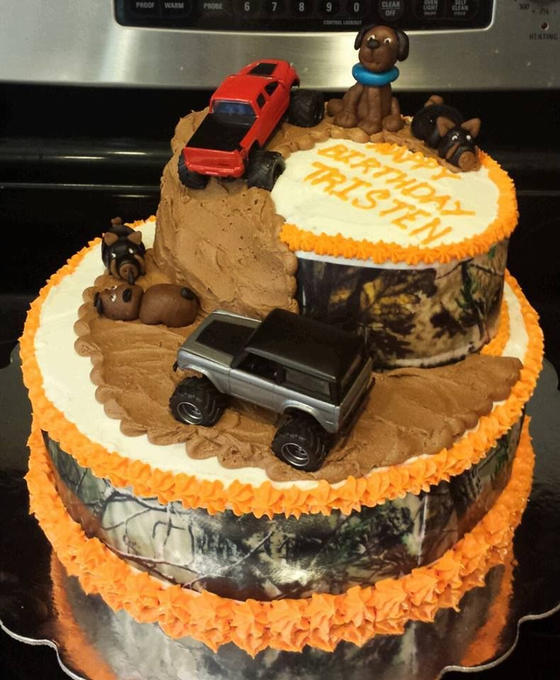Marvelous Camo Mudding And Hunting Are Birthday Boys Faves Hunting Cake Funny Birthday Cards Online Aboleapandamsfinfo