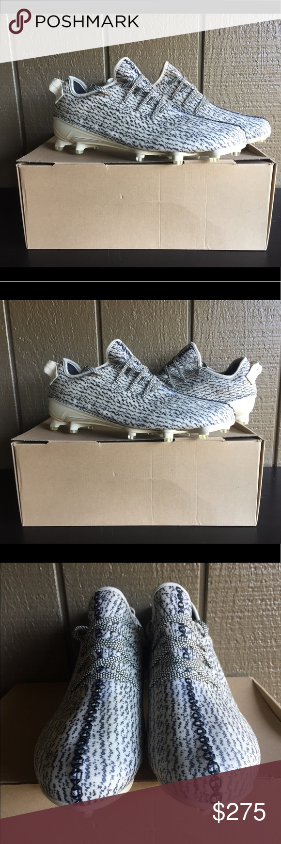 52f57838df880 Adidas Yeezy 350 Turtle Dove Mens Football Cleats Brand   Adidas Style Code    B42410 Color   White Black 100% AUTHENTIC The adidas Yeezy 350 Cleat  debuted ...