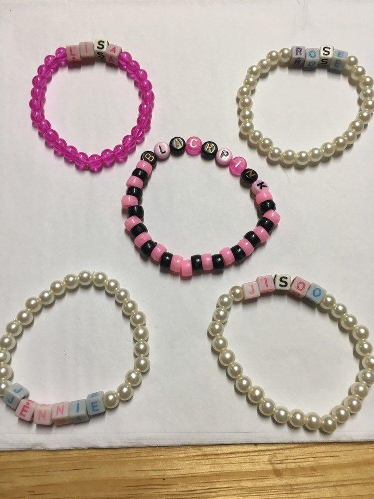 Blackpink Bracelets Blackpink Jewelry Custom Kpop Bracelet Etsy Friendship Bracelets With Beads Kandi Bracelets Diy Bracelets Patterns