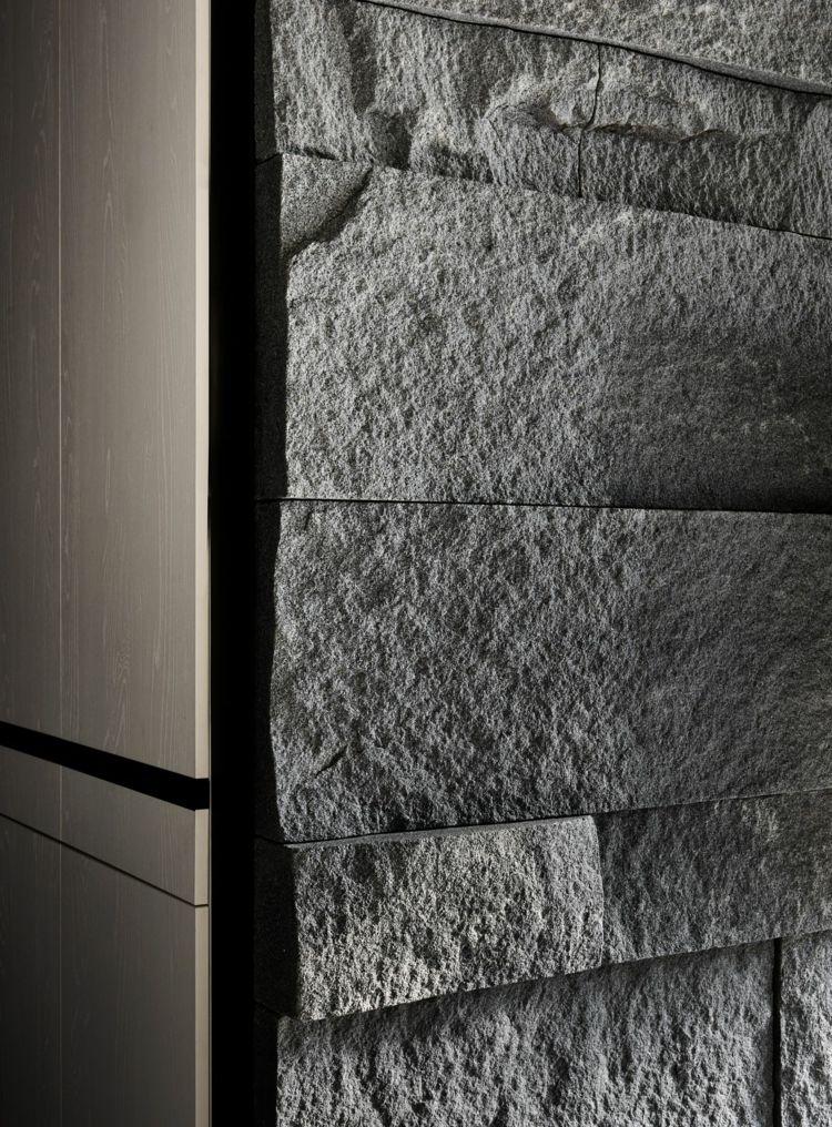 Wohnzimmer Steinwand und elegantes Farbkonzept schaffen ein - wohnzimmer design steinwand